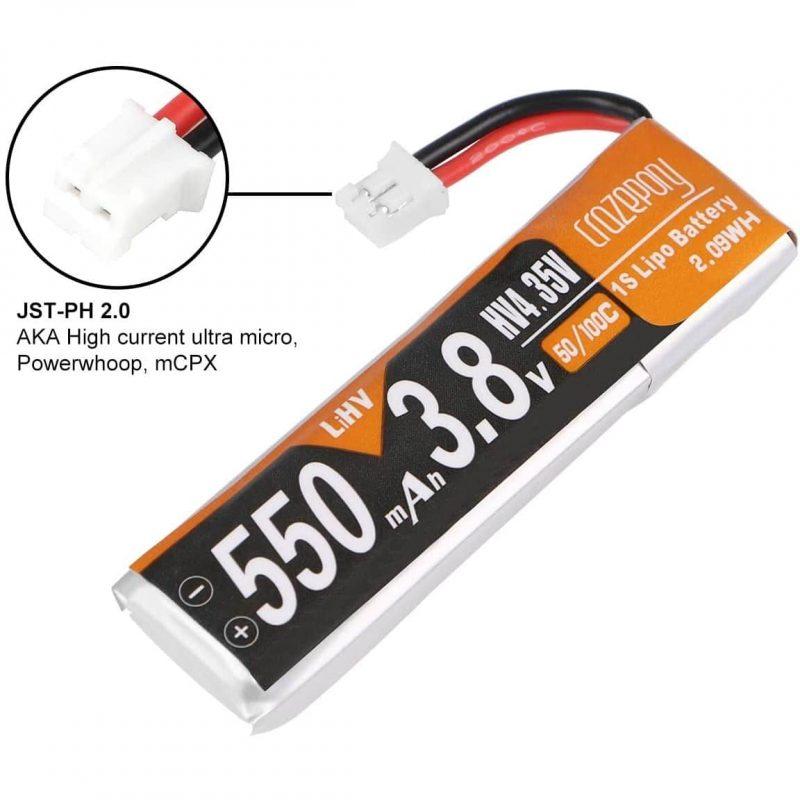 1s 550mAh - 50C - 3.8V HV LiPo Battery - 1stk Crazepony